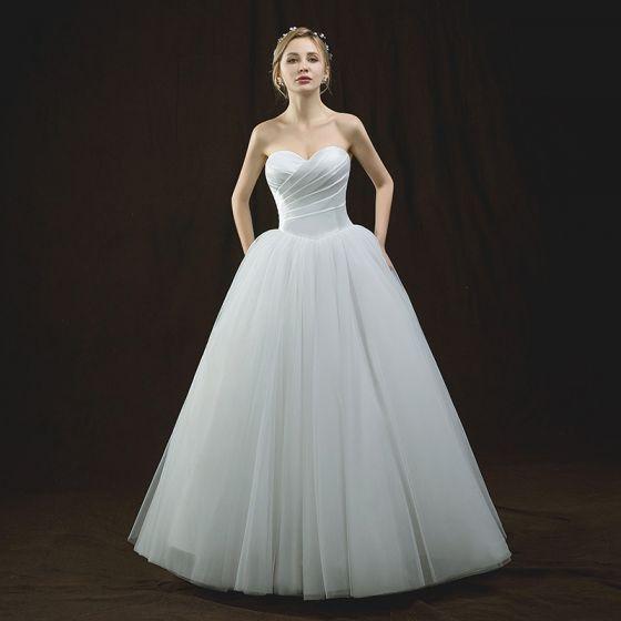 Modest / Simple Ivory Wedding Dresses 2018 Ball Gown Sweetheart Sleeveless Backless Floor-Length / Long Ruffle