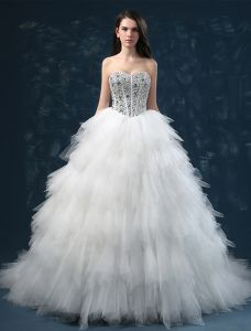2015 Luxury Sweetheart Sleeveless Sequined Upper Corset Cascading Ruffles Ball Gown Wedding Dress