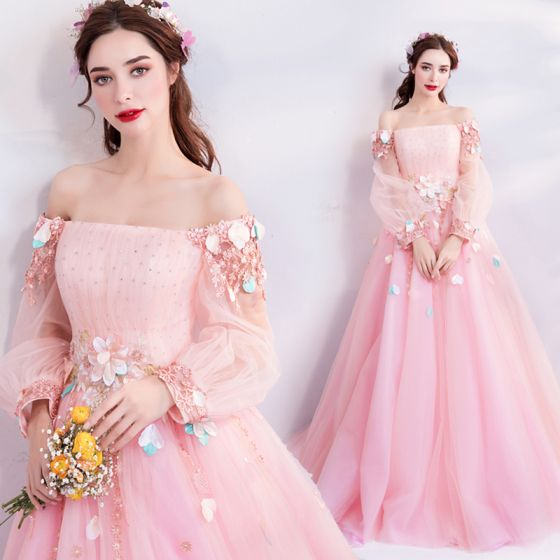 Flower Fairy Candy Pink Prom Dresses 2019 A-Line / Princess Off-The-Shoulder Puffy Long Sleeve Appliques Flower Beading Rhinestone Floor-Length / Long Ruffle Backless Formal Dresses