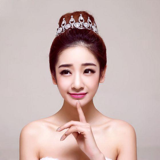 Elegante Luxe Grote Deeltje Strass Bruidssieraden Tiara Haaraccessoires