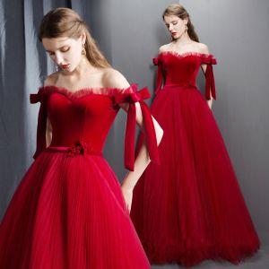 Modern / Fashion Red Prom Dresses 2019 A-Line / Princess Off-The-Shoulder Short Sleeve Bow Sash Floor-Length / Long Pleated Backless Formal Dresses