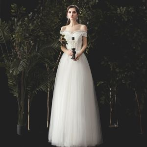 Charming Ivory Wedding Dresses 2020 A-Line / Princess Ruffle Off-The-Shoulder Lace Flower Sleeveless Backless Floor-Length / Long