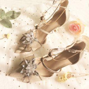 Encantador Champán Noche Zapatos De Mujer 2019 Cuero Rhinestone T-Correa 8 cm Stilettos / Tacones De Aguja Punta Estrecha High Heels