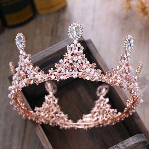 Chic / Beautiful Candy Pink Accessories 2018 Metal Beading Rhinestone Tiara