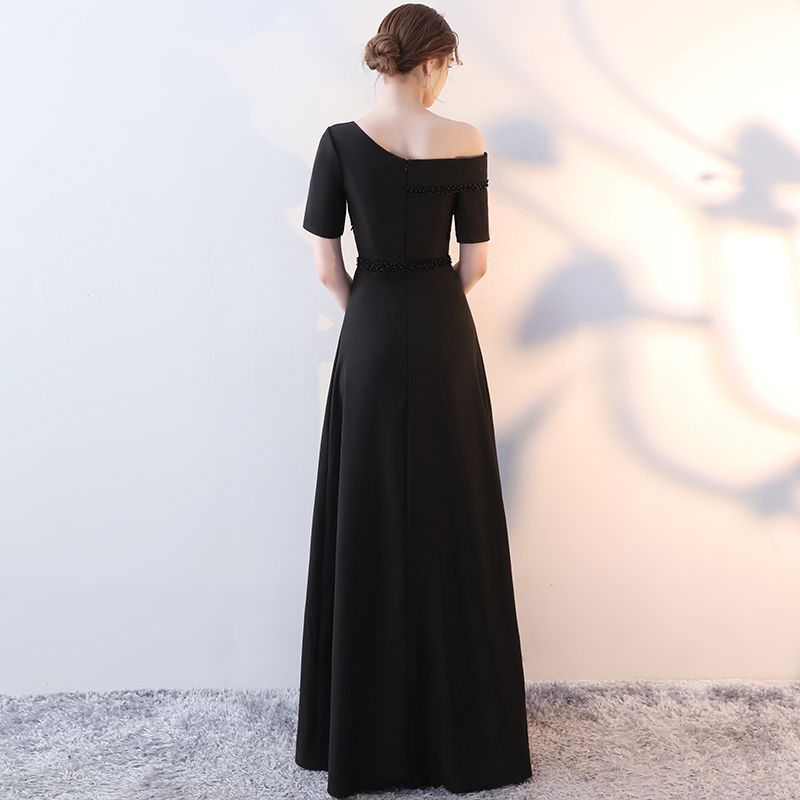 Chic / Beautiful Black Evening Dresses  2017 A-Line / Princess Amazing / Unique One-Shoulder 1/2 Sleeves Pearl Crystal Floor-Length / Long Backless Formal Dresses