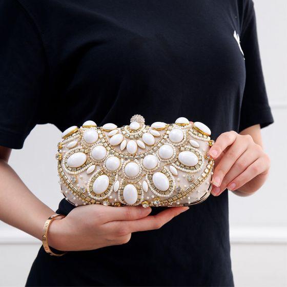 Schöne Champagner Quadratische Clutch Tasche 2020 Metall Perlenstickerei Strass