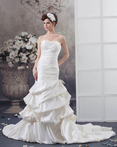 Satin Ruffle Strapless Flower Decor Chapel Mermaid Bridal Gown Wedding Dresses