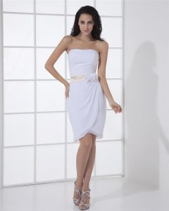 Chiffon Charmeuse Strapless Flower Sleeveless Zipper A Line Mini Wedding Dress