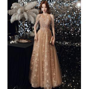 Chic / Belle Champagne Robe De Bal 2020 Princesse Encolure Dégagée Étoile Appliques En Dentelle Paillettes Perlage Longue Volants Dos Nu Robe De Ceremonie