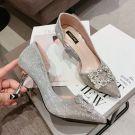 Sparkly Silver Wedding Shoes 2018 Wedding Rhinestone Sequins 8 cm Stiletto Heels Pointed Toe Pumps