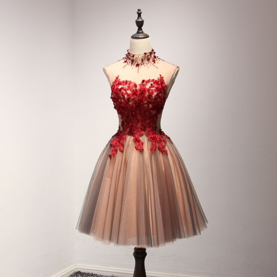 a314634896 Hermoso Rojo Vestidos de fiesta 2017 Volantes En Cascada Cortos Ball Gown  Cuello Alto Sin Mangas Sin Espalda Con ...