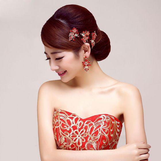 Red Bridal Headpieces /Head Flower / Wedding Hair Accessories / Wedding Jewelry/Garland