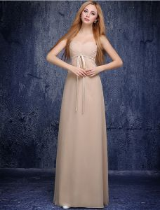 Cute Princess Empire Sweetheart Ruffle Knitting Sash Champagne Chiffon Bridesmaid Dress