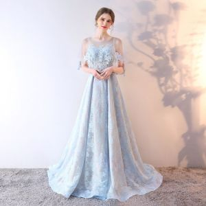 Chic / Beautiful Sky Blue Evening Dresses  2019 A-Line / Princess Scoop Neck Sequins Rhinestone Lace Flower 1/2 Sleeves Backless Sweep Train Formal Dresses