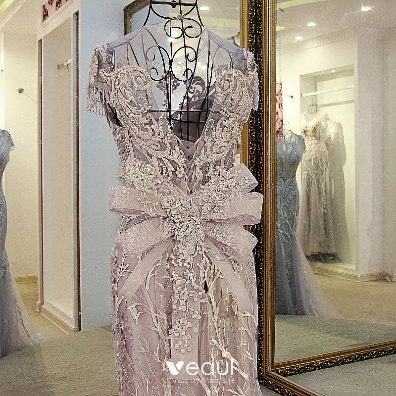 Chic / Beautiful 2017 Grey Zipper Up at Side Lace Pearl Court Train Organza U-Neck Casual Church Cocktail Party Evening Party Summer Short Sleeve Trumpet / Mermaid Evening Dresses