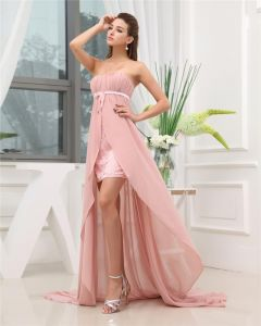 Strapless Zipper Sleeveless Beading Ruffle Asymmetrical High Low Chiffon Charmeuse Woman Prom Dress
