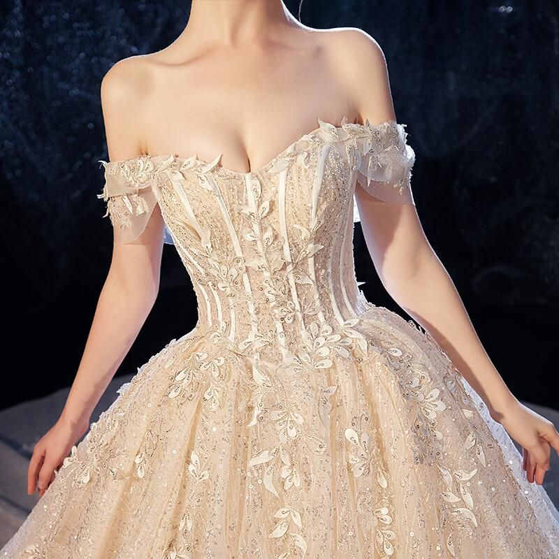 Luxury / Gorgeous Champagne Wedding Dresses 2020 Ball Gown Off-The-Shoulder Short Sleeve Backless Glitter Tulle Leaf Appliques Lace Sequins Beading Cathedral Train Ruffle