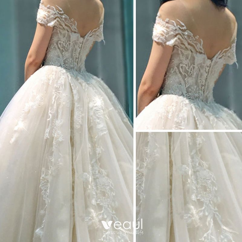 Classy Champagne See-through Wedding Dresses 2019 A-Line / Princess Scoop Neck Short Sleeve Backless Appliques Lace Beading Cathedral Train