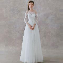 Elegant Ivory Lace Beach See-through Wedding Dresses 2019 A-Line / Princess Square Neckline 3/4 Sleeve Sash Floor-Length / Long Ruffle