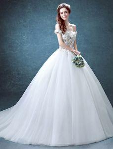 Glamourösen Hochzeitskleider 2016 Ballkleid Aus Dem Brautkleid Bördeln Strass Rüsche Tüll Schulter Spitze Blumen