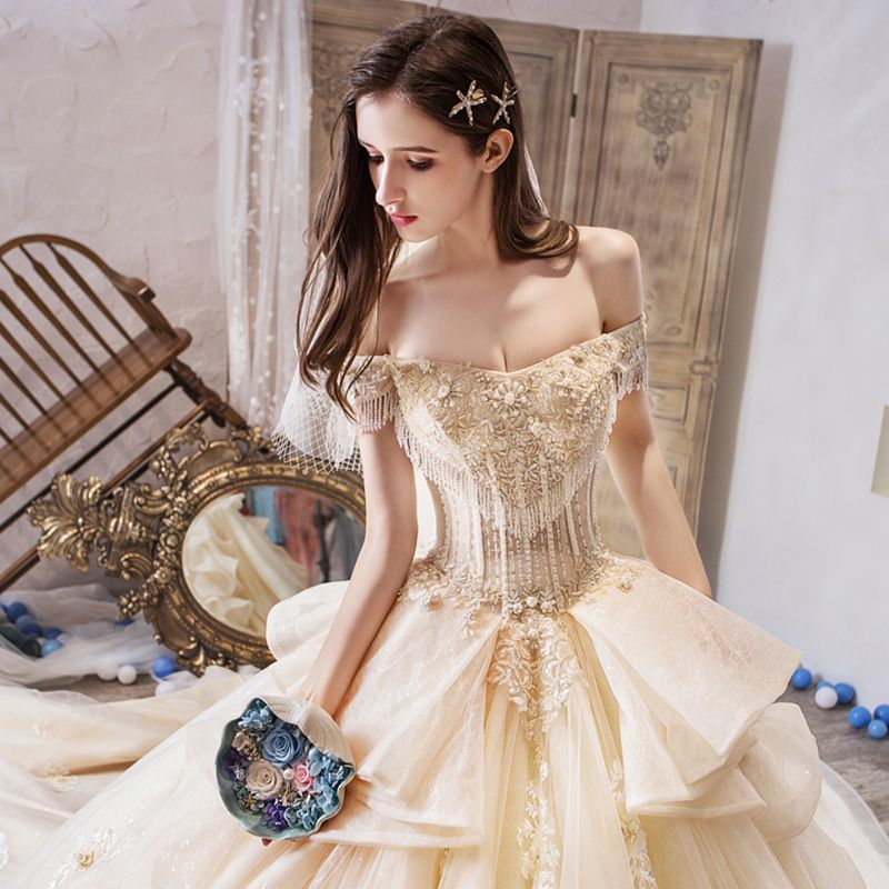Luxury / Gorgeous Champagne Wedding Dresses 2019 Ball Gown Off-The-Shoulder Short Sleeve Beading Tassel Backless Appliques Lace Flower Glitter Tulle Royal Train Ruffle