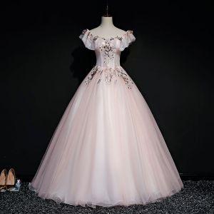 Eleganta Pärla Rosa Balklänningar 2019 Balklänning Fyrkantig Ringning Korta ärm Appliqués Spets Pärla Långa Ruffle Halterneck Formella Klänningar