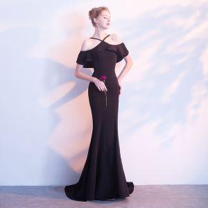 Simple Noir Robe De Soirée 2018 Trompette / Sirène Bustier Dos Nu Sans Manches Longue Robe De Ceremonie