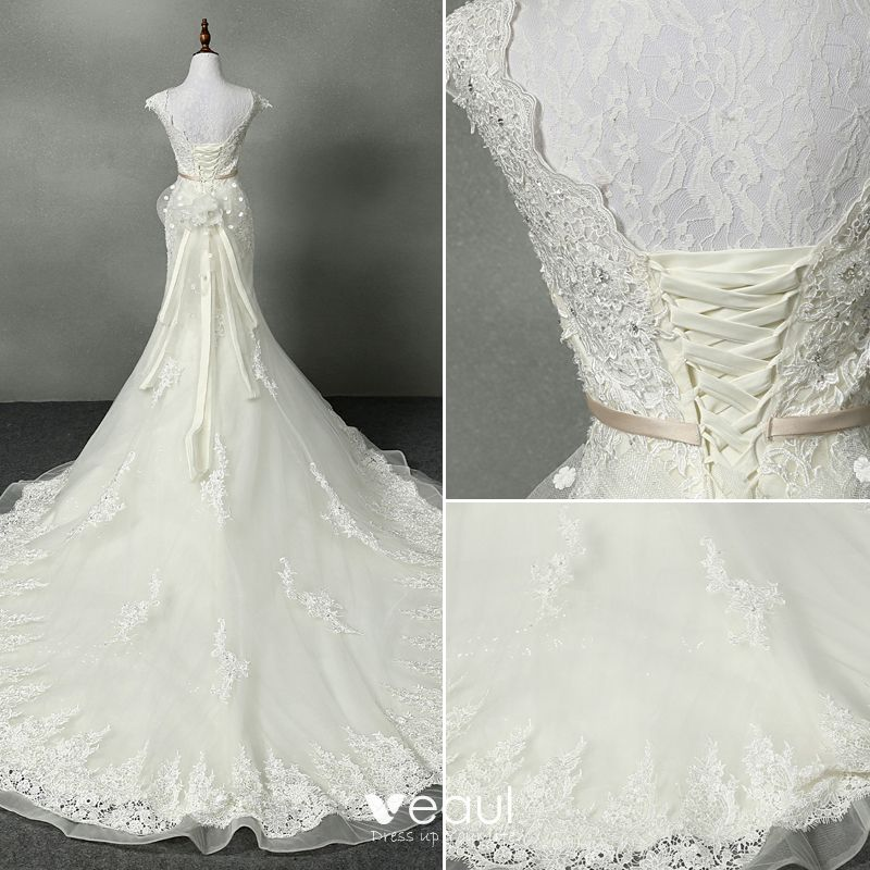 Chic / Beautiful Trumpet / Mermaid Wedding Dresses 2017 V-Neck Appliques Beading Rhinestone Bow Sash Backless Lace Organza Ivory Chapel Train