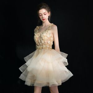 Illusion Champagne Party Dresses 2019 A-Line / Princess V-Neck Sleeveless Appliques Flower Pearl Sequins Short Cascading Ruffles Formal Dresses