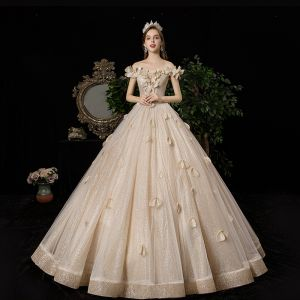 Luxury / Gorgeous Champagne Wedding Dresses 2020 A-Line / Princess Off-The-Shoulder Appliques Pearl Sequins Sleeveless Backless Floor-Length / Long