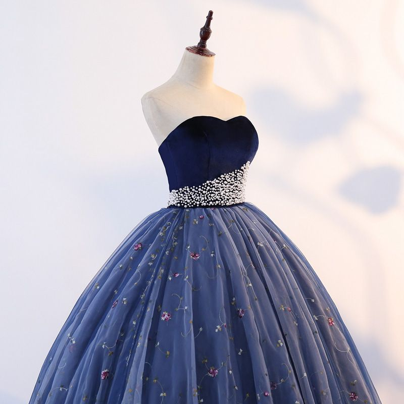 Vintage / Retro Quinceañera Navy Blue Prom Dresses 2019 Ball Gown Sweetheart Sleeveless Appliques Pearl Lace Floor-Length / Long Ruffle Backless Formal Dresses