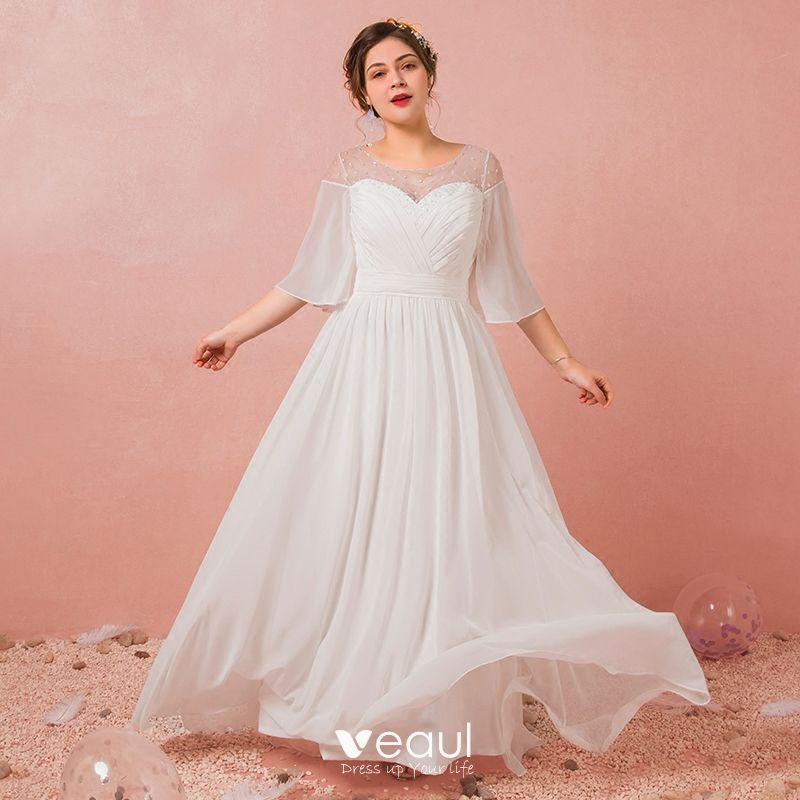 Modest / Simple White Plus Size Evening Dresses 2018 A-Line / Princess  U-Neck Chiffon Tulle Beading Sequins Evening Party Formal Dresses
