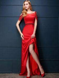 2016 Eleganten Quadratischen Ausschnitt Gesäumten Ärmeln Backless Roten Satin Abendkleid Mit Pailletten Schärpe