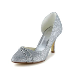 Sparkly Silver Pumps Stiletto Heels Glitter Bridal Shoes With Rhinestone