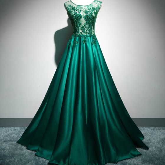 Chic / Beautiful Evening Dresses  2017 Green Zipper Up Appliques Embroidered Pierced Printing Charmeuse Cocktail Party Sleeveless U-Neck Evening Party