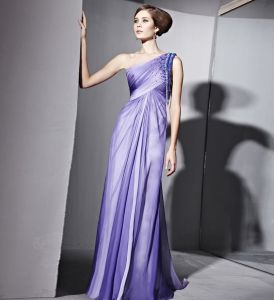 Floor Length Single Shoulder Sleeveless Satin Terylene Evening Dresses