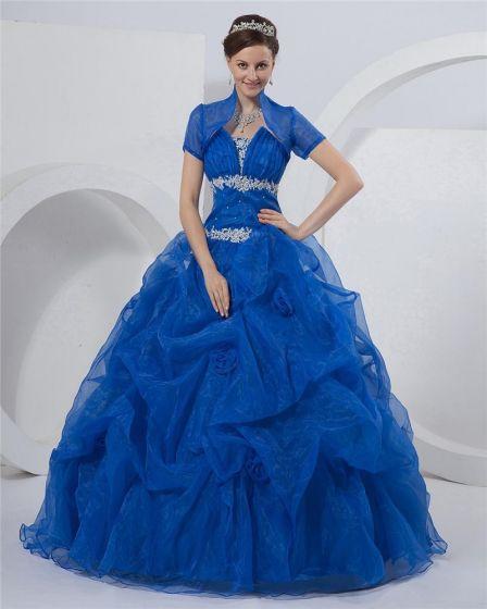 4540f8f39 Vestido De Bola Vestidos De Gala Sin Tirantes Piso De Longitud Organza Prom  Quinceañera