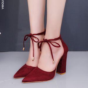 Overkommelige Bourgogne Casual Sandaler Dame 2020 Ankel Strop 10 cm Tykke Hæle Spidse Tå Sandaler