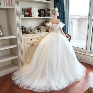 Elegant Ivory Outdoor / Garden Wedding Dresses 2019 A-Line / Princess Off-The-Shoulder Puffy Short Sleeve Backless Appliques Lace Sweep Train Ruffle