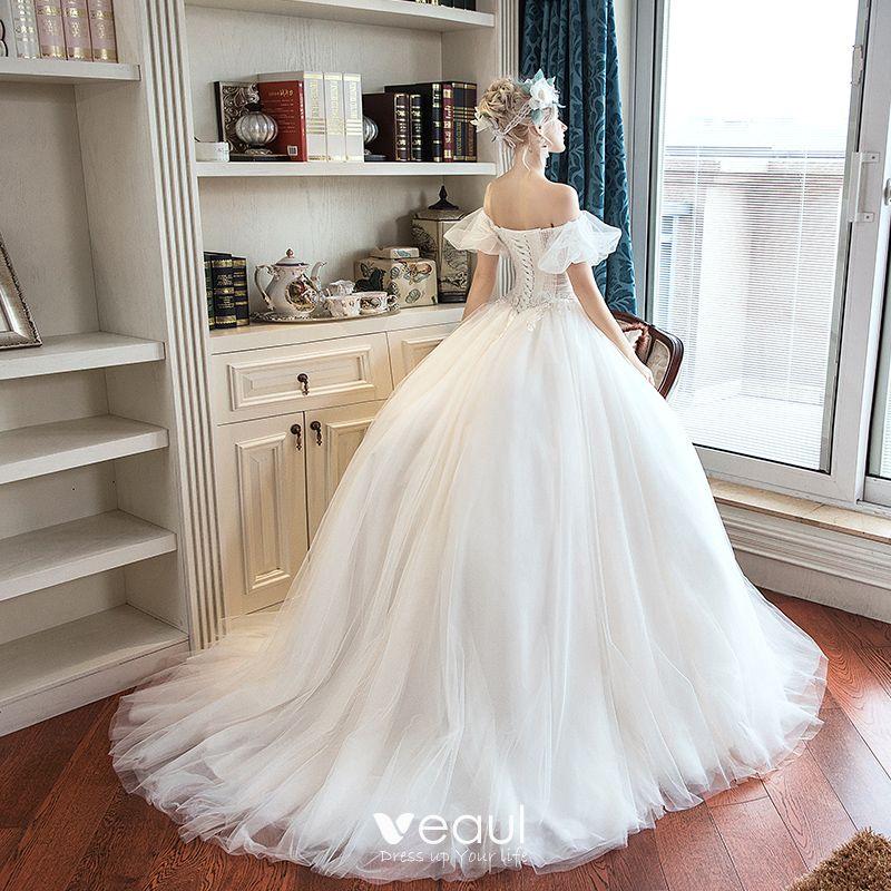 Elegant Ivory Outdoor / Garden Wedding Dresses 2019 A-Line