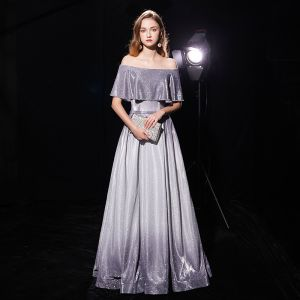 Starry Sky Grey Evening Dresses  2019 A-Line / Princess Off-The-Shoulder Short Sleeve Sash Floor-Length / Long Ruffle Backless Glitter Polyester Formal Dresses