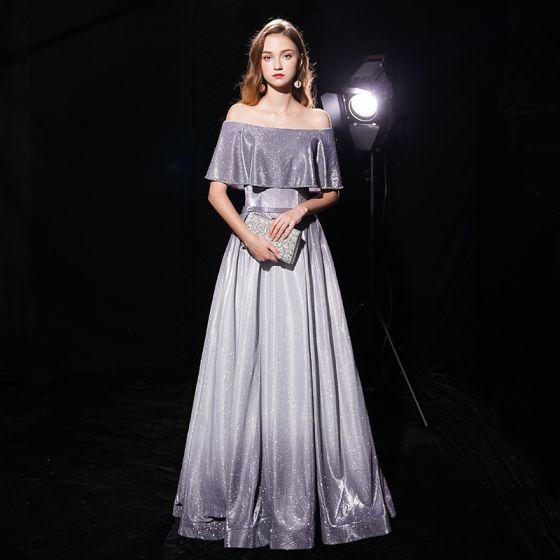Starry Sky Grey Evening Dresses  2019 A-Line / Princess Off-The-Shoulder Short Sleeve Sash Floor-Length / Long Ruffle Backless Glitter Polyester Formal Dresses