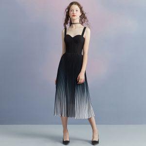 Schlicht Schwarz Farbverlauf Marineblau Georgette Abendkleider 2018 A Linie Schultern Ärmellos Wadenlang Plissee Rückenfreies Festliche Kleider