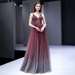 Elegant Burgundy Gradient-Color Evening Dresses  2020 A-Line / Princess Spaghetti Straps Sleeveless Beading Floor-Length / Long Ruffle Backless Formal Dresses
