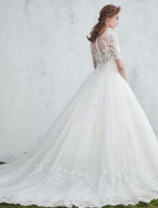 Herrliche Brautkleider 2017 Scoop Ausschnitt Mit Applique Spitze Backless Hochzeitskleider