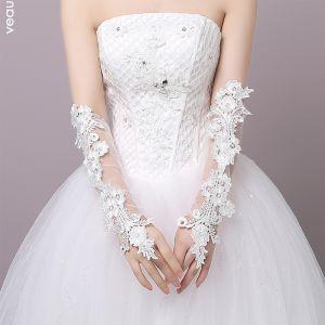 Bloemenfee Witte Huwelijk 2018 Lace-up Tule Appliques Bruidshandschoenen