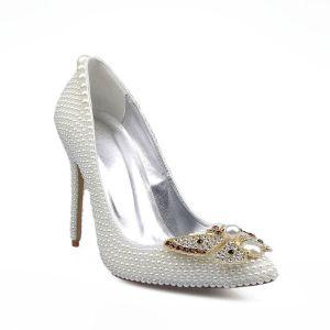 Mode Ivoire Perle Chaussure De Mariée 2020 Cuir Faux Diamant Papillon 10 cm Talons Aiguilles À Bout Pointu Mariage Escarpins