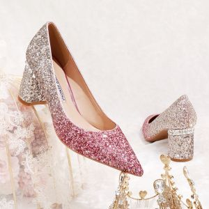 Sparkly Gradient-Color Fuchsia Wedding Shoes 2020 Glitter Sequins 6 cm Thick Heels Pointed Toe Pumps