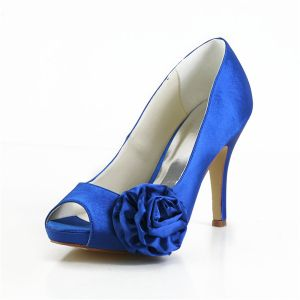 Elegant Blue Prom Shoes Peep Toe Satin Pumps With Flower