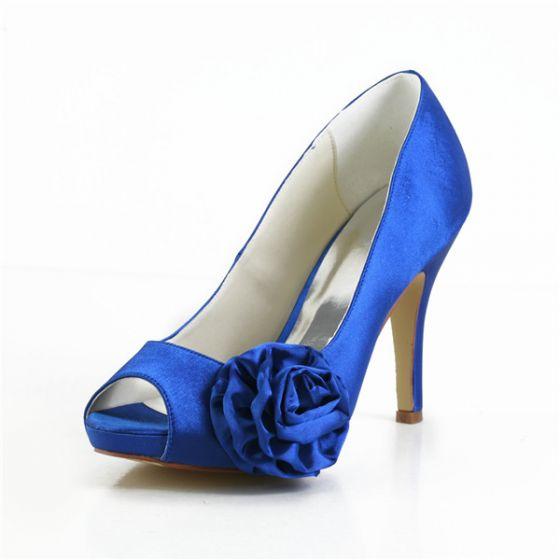 Elegant Blue Prom Shoes Peep Toe Satin Pumps With Flower